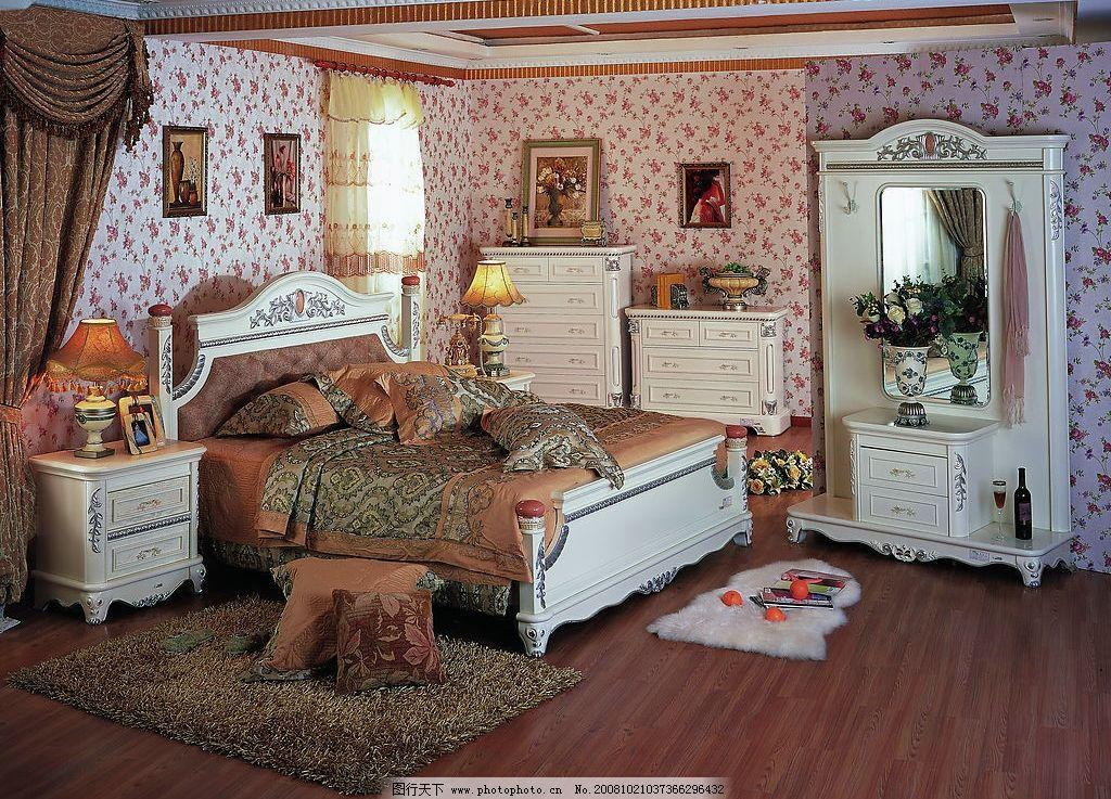 家居 卧室 床 柜子 梳妆台 欧式家具 家居生活 摄影图库