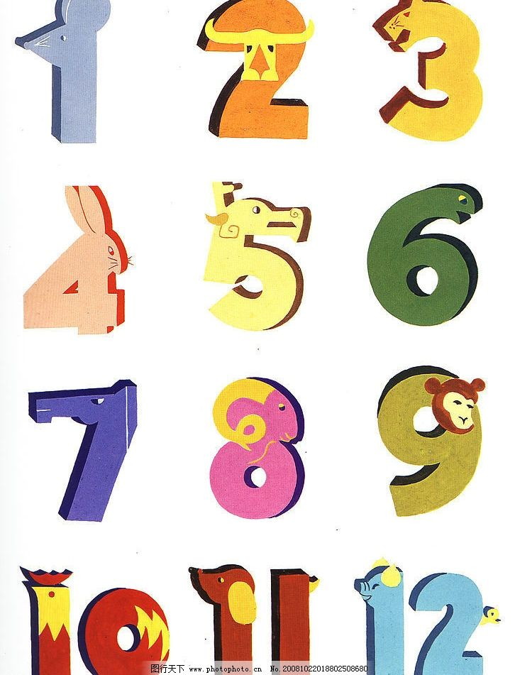 十二生肖 阿拉伯数字 可爱的动物形象 文化艺术 传统文化 十二生肖