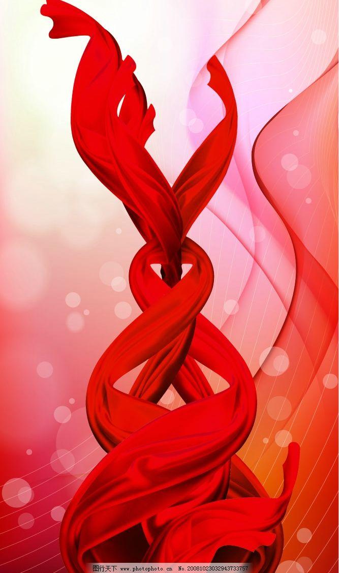 纏繞舞動的紅色飄帶圖片