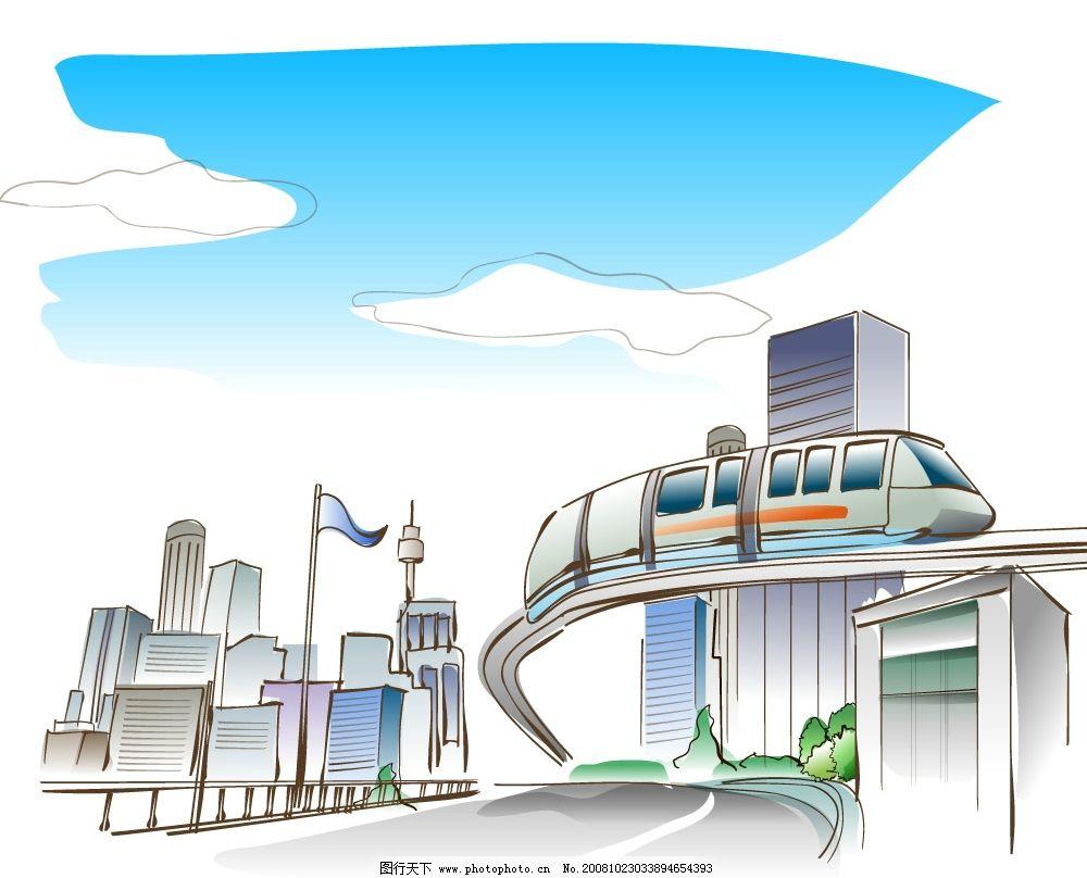 世界奇迹风景 世界奇迹建筑 都市 城市 火车 高楼 旗帜 其他矢量