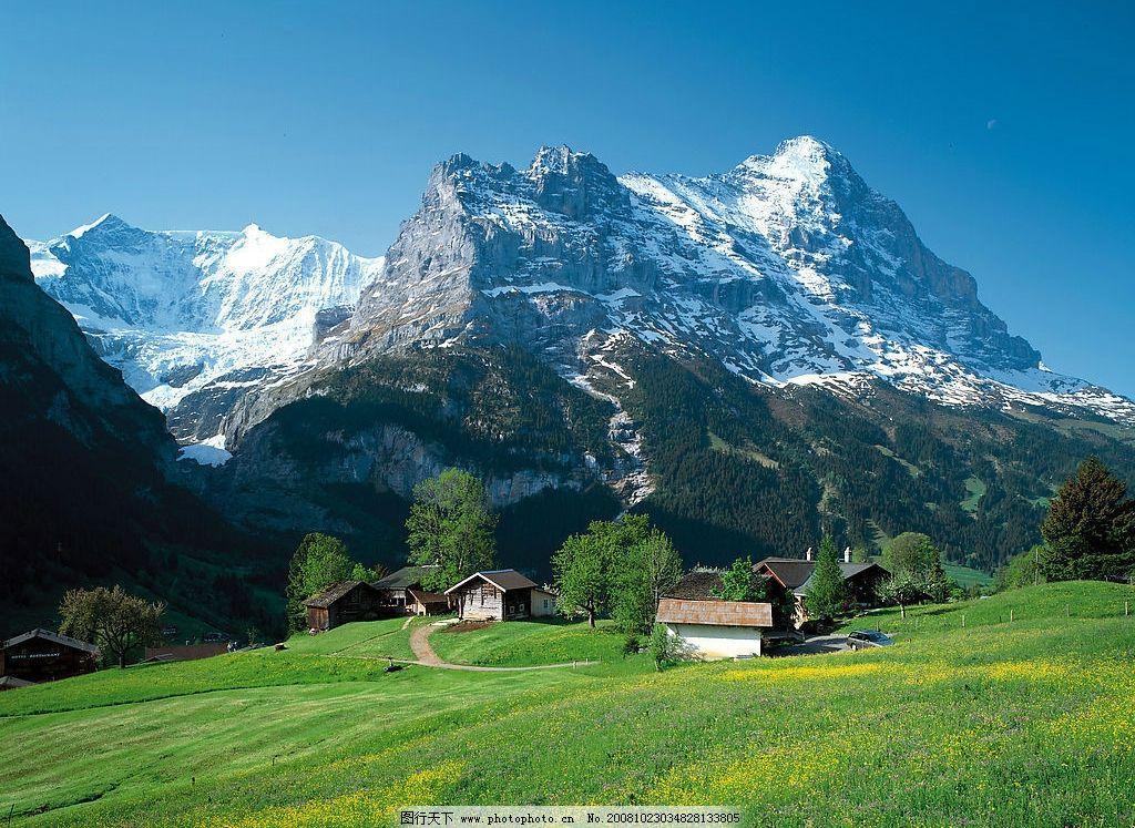 自然风景 雪山 高山 小房子 草地 天空 自然景观 德国风韵 摄影图库