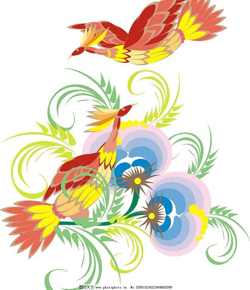 凤凰鸟 树叶 矢量人物 其他人物 矢量图库