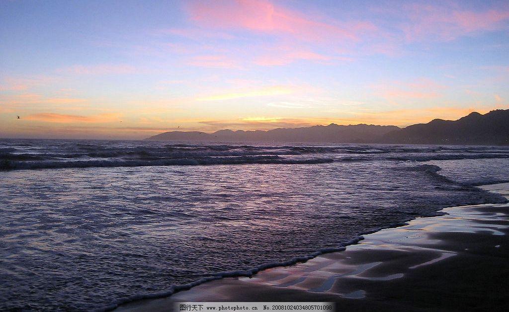 大海黄昏 沙滩 一望无际 风景 摄影图库