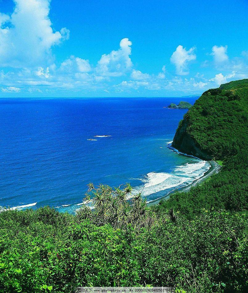 海阔天空 大海 蓝天 白云 树 自然景观 自然风景 摄影图库 300dpi jpg