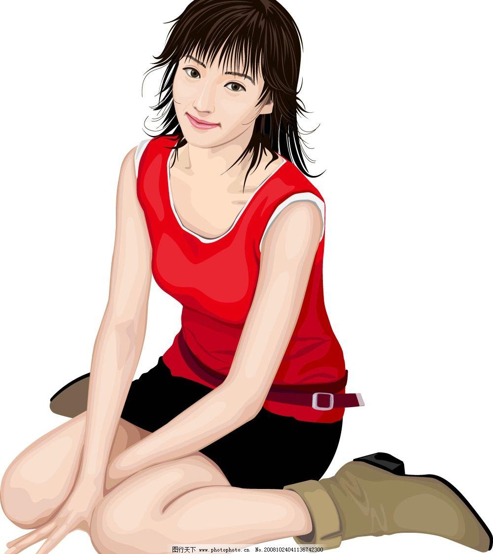 现代美女_乐乐简笔画