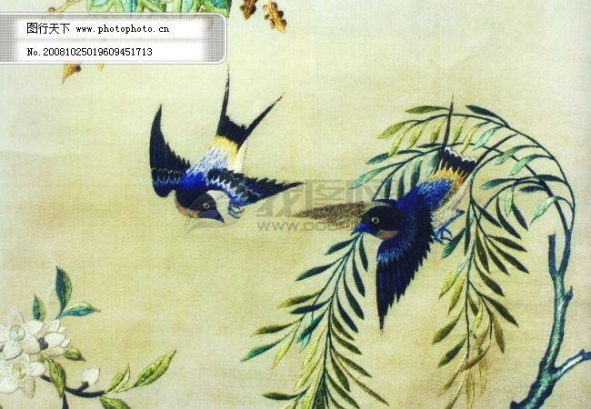 花鸟国画 古画图片 古董 中华刺绣 psd分层素材源文件