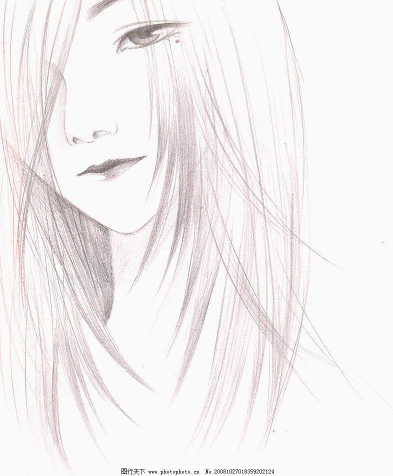 美女 忧郁眼神 飘逸长发 铅笔画 手绘素描稿 动漫动画 动漫人物 原创