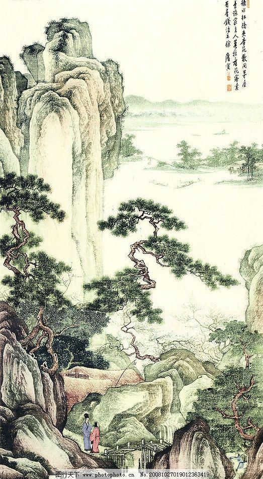 唐伯虎山水畫圖片