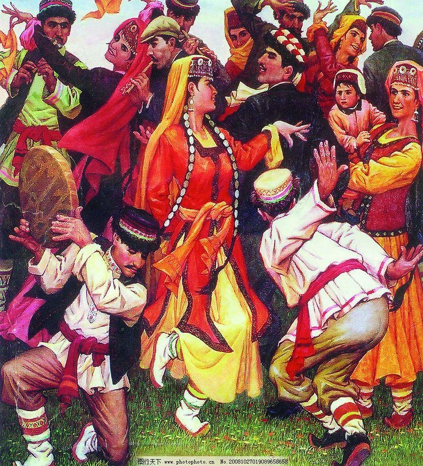 民族舞蹈 维吾尔族舞蹈 维吾尔族人物 民族舞蹈油画 舞蹈音乐