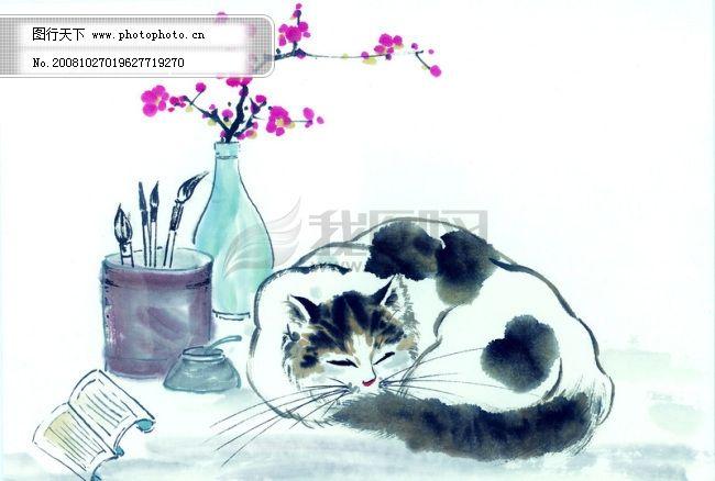猫咪 病猫 小猫 动物 可爱 家猫 花猫 中华艺术绘画