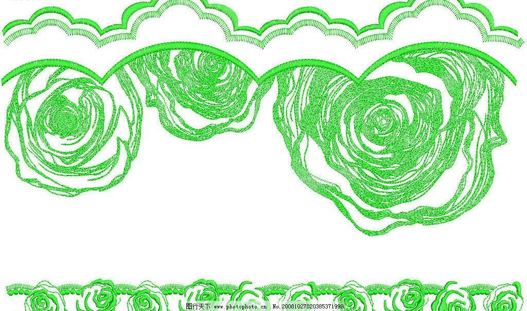 花纹 玫瑰 绣花 边条 图案 底纹边框 花边花纹 设计图库 132dpi jpg