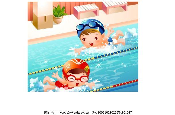 卡通人物游泳图片