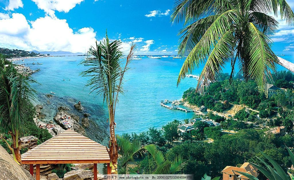 风景画 装饰画 大海 海天风景 凉亭 海边 椰树 蓝天白云 源文件库