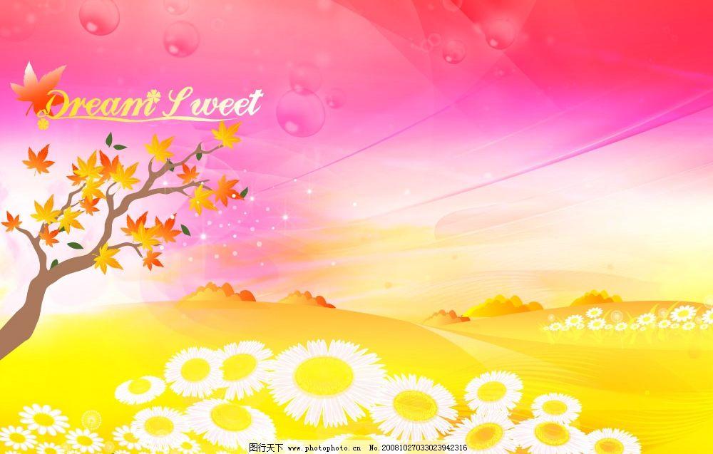 梦幻童话相框背景 花朵 枫树 枫叶 鲜花 泡泡 艳丽 炫丽 漂亮 美丽