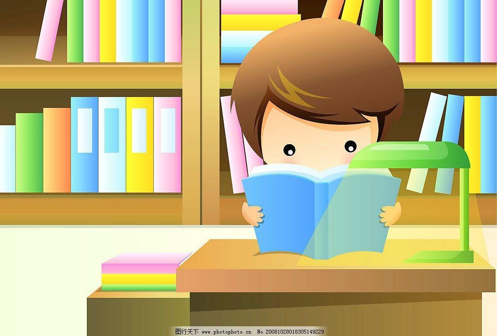 卡通儿童 儿童 看书 书本 书架 学生 台灯 书桌 动漫动画 动漫人物图片