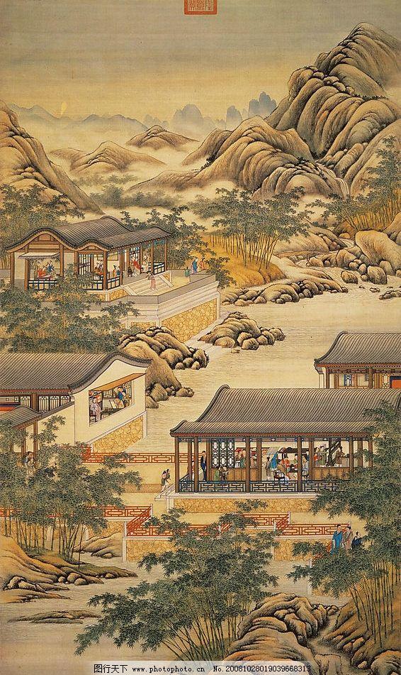 缝织衣物 下棋 树 山 石头 背景 素材 古画 古代 国宝 国画 风景画 清
