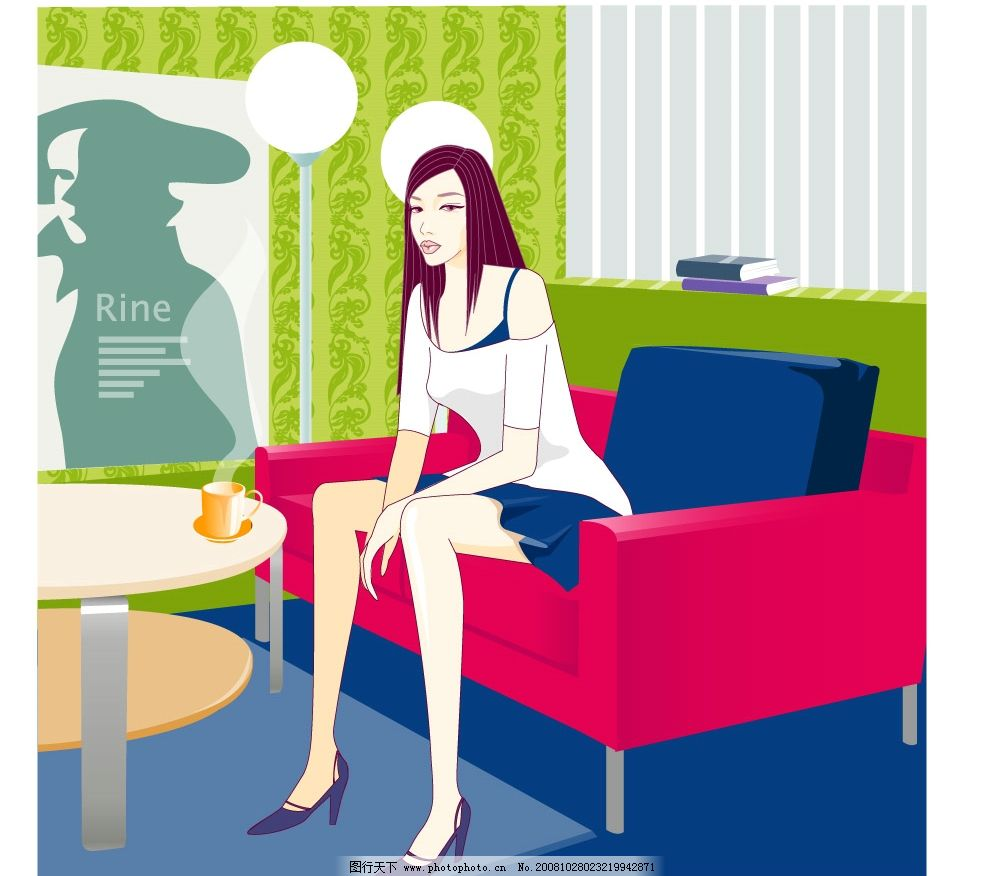 插图美女 上班族美女 坐沙发美女 矢量图 矢量人物 矢量图库