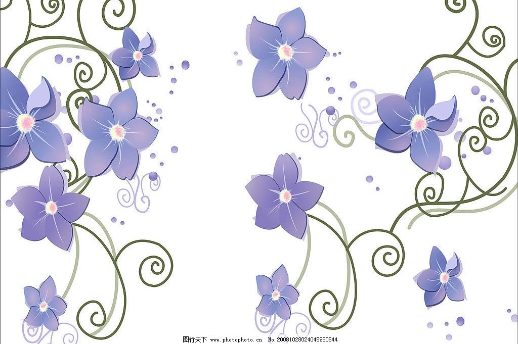 紫色唯美花朵 花 紫色 绿藤 白底 唯美 花朵 背景底图 自然景观 自然