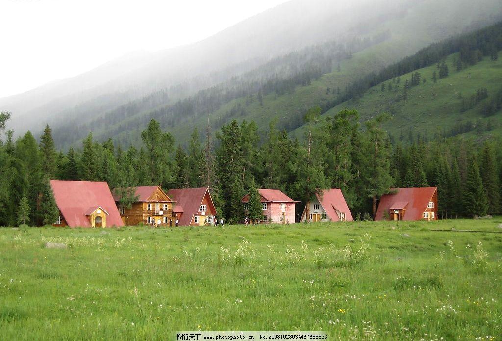 喀纳斯的小木屋 喀纳斯 木屋 自然景观 山水风景 摄影图库 180dpi jpg