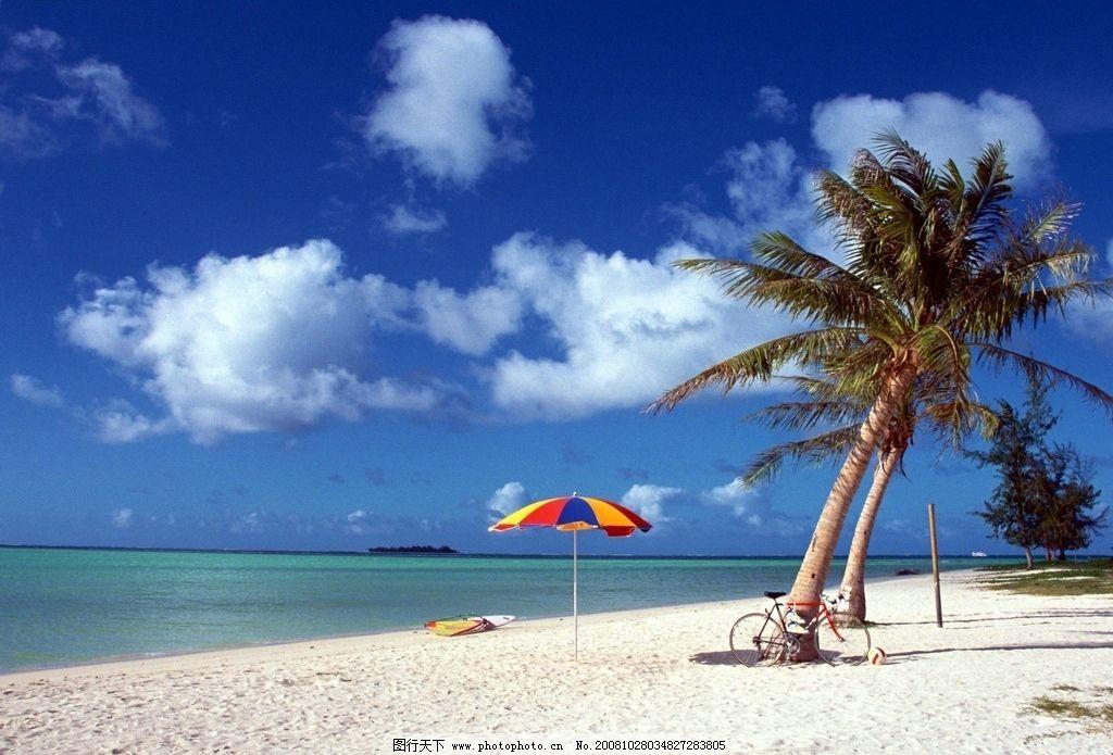 沙滩海景 自行车 树 蓝天 白云 风景 摄影图库