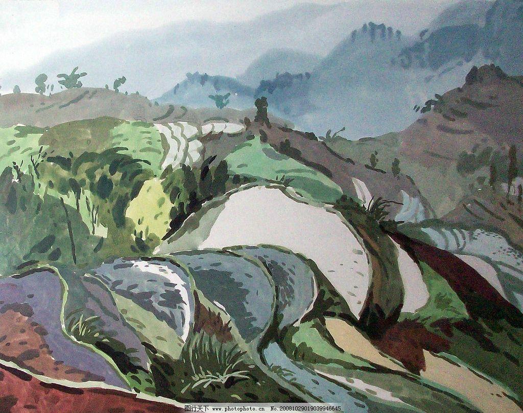 水彩画梯田 水彩 水彩画 画 风景 山水 梯田 文化艺术 绘画书法 设计