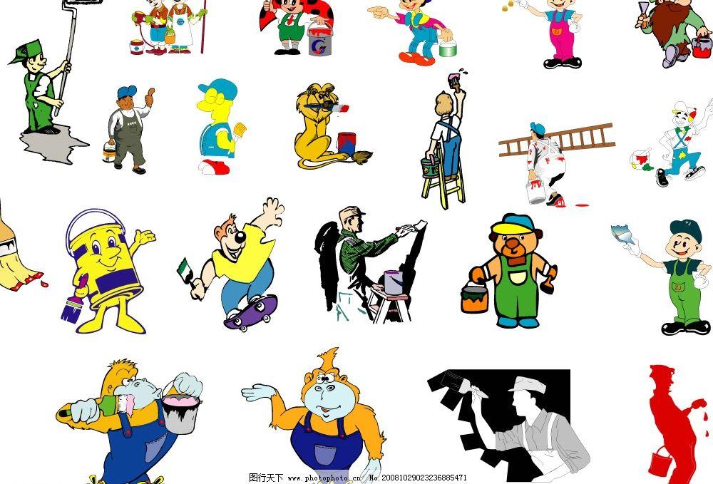 油漆工 工人 刷子 油漆桶 小人 猩猩 漆匠 矢量人物 卡通系列