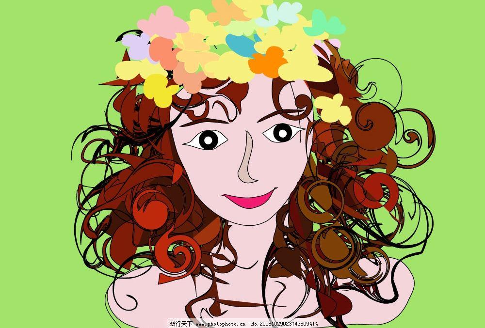 女孩 女人 插画 女性 卷发 矢量图 大眼睛 矢量人物 妇女女性
