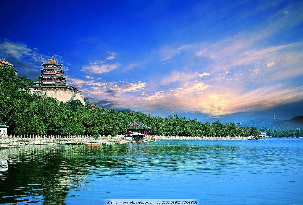 公园 宝塔 湖水 绿色 蓝天 白云 亭子 倒影 阳光 山水风景