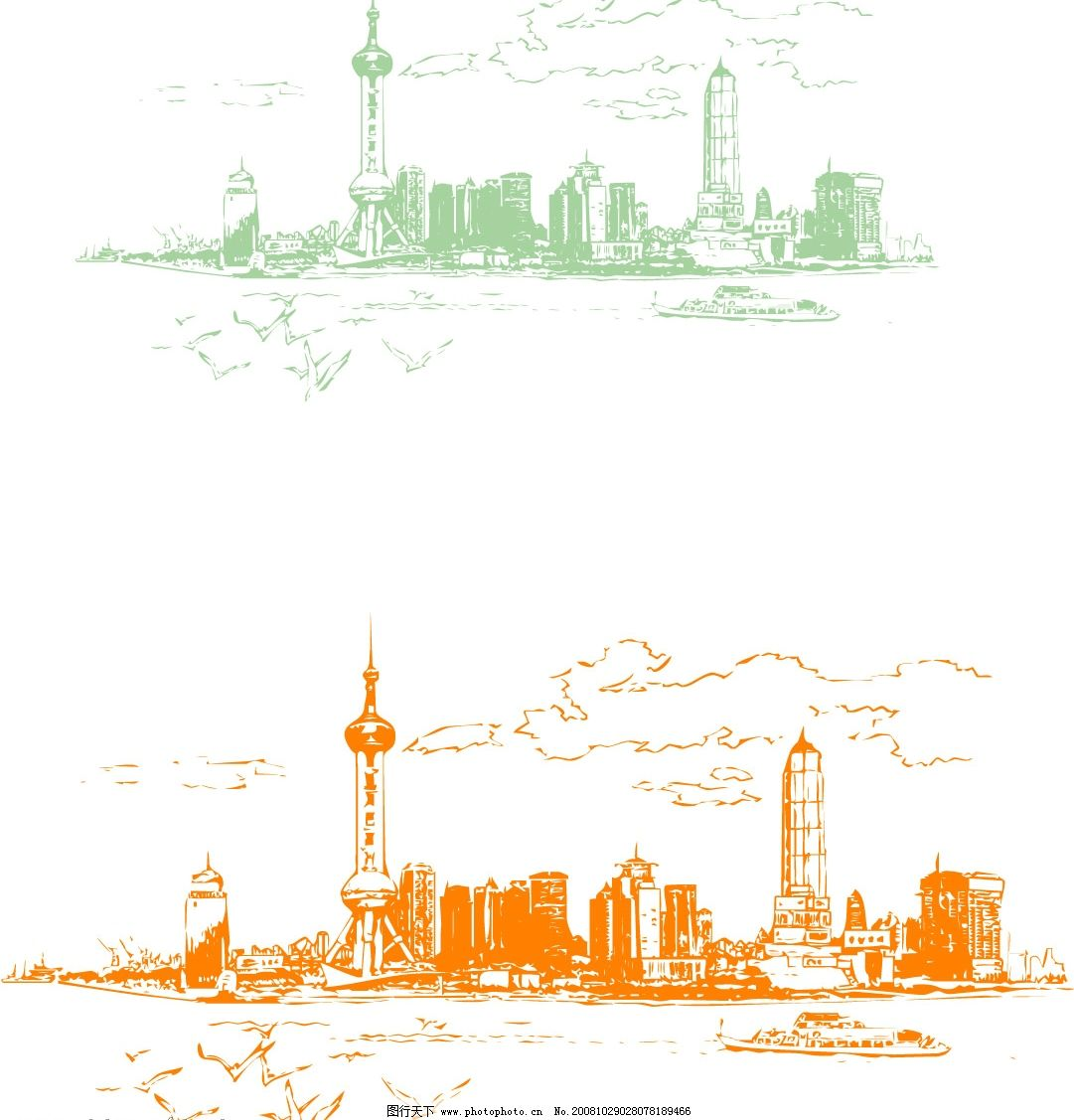 上海东方明珠剪影矢量图