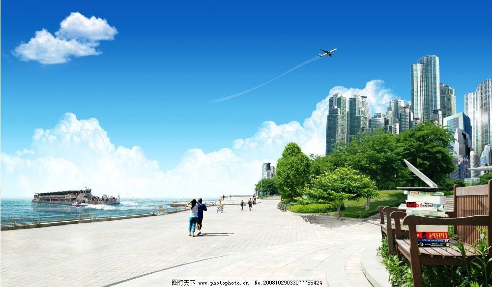 海边风景 大海 船 楼房 人物 岸边 椅子 蓝天 白云 飞机 树