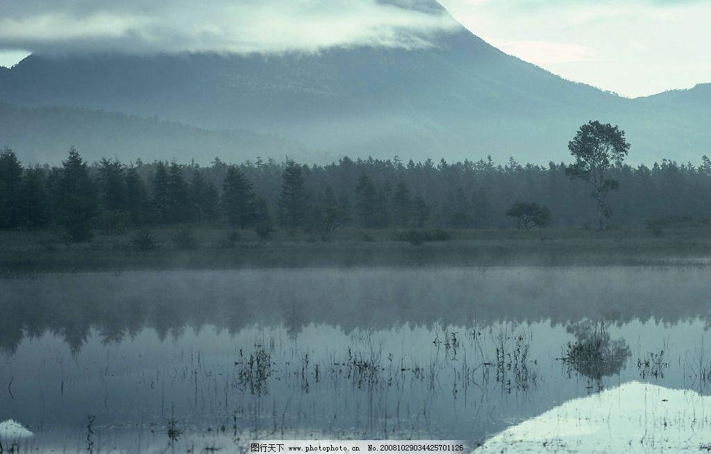 山水剪影 山 水 山水 山恋 树木 云雾 湖水 湖 自然景观 山水风景