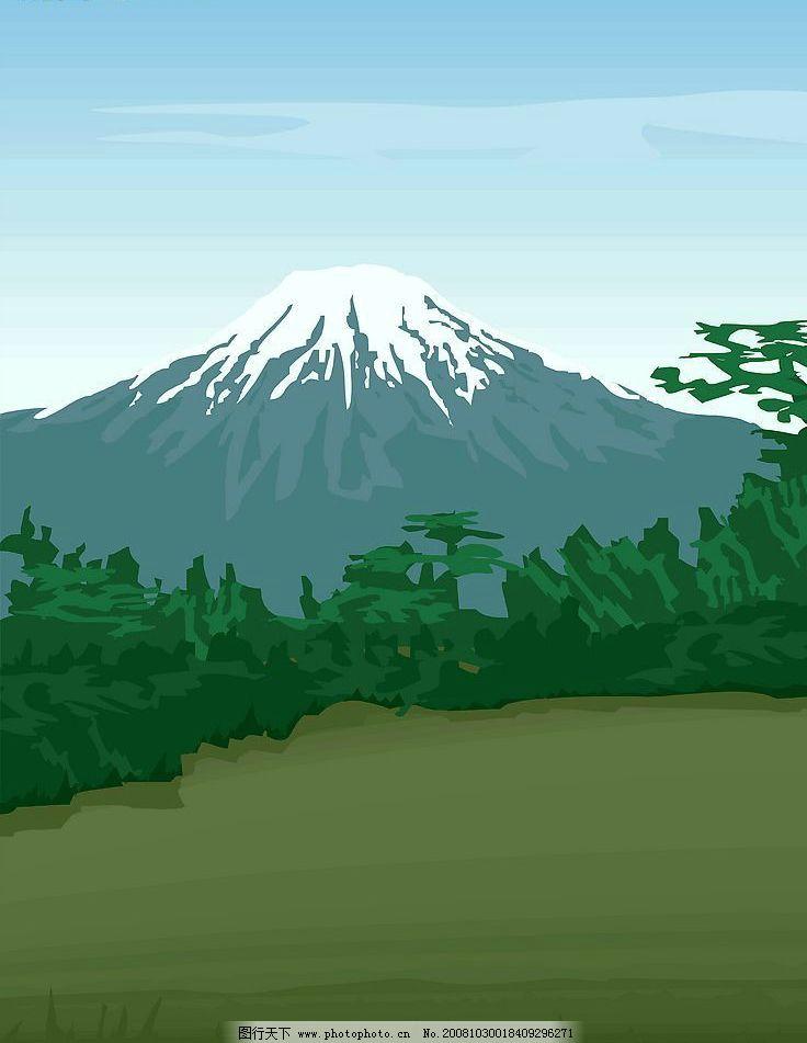 移门 设计图片 风景漫画 富士山 山 jpg 动漫动画 设计图库 72dpi
