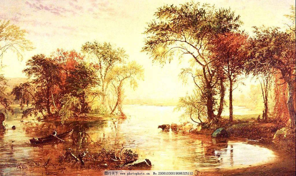 油画乡村风景图片