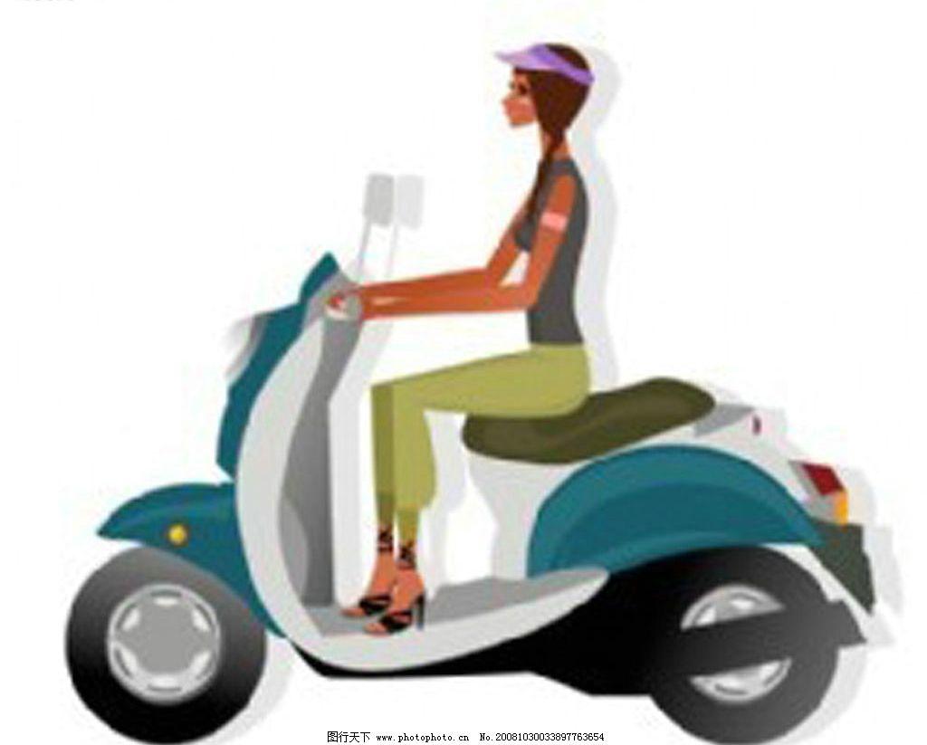 骑电动车的女孩 骑电动车的女孩_ai矢量图 其他矢量 矢量素材 矢量