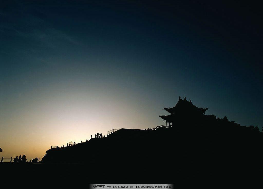 早晨风光 天空 风光 自然风景 山顶 早晨 太阳 阳光 朝霞 亭子 自然