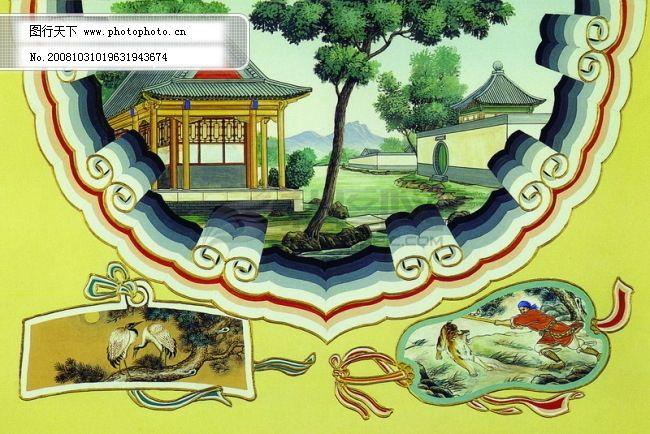 开门红 柱纹 门边 门纹 梁柱 古纹 古画 风景画 古边 民间艺术画 中国