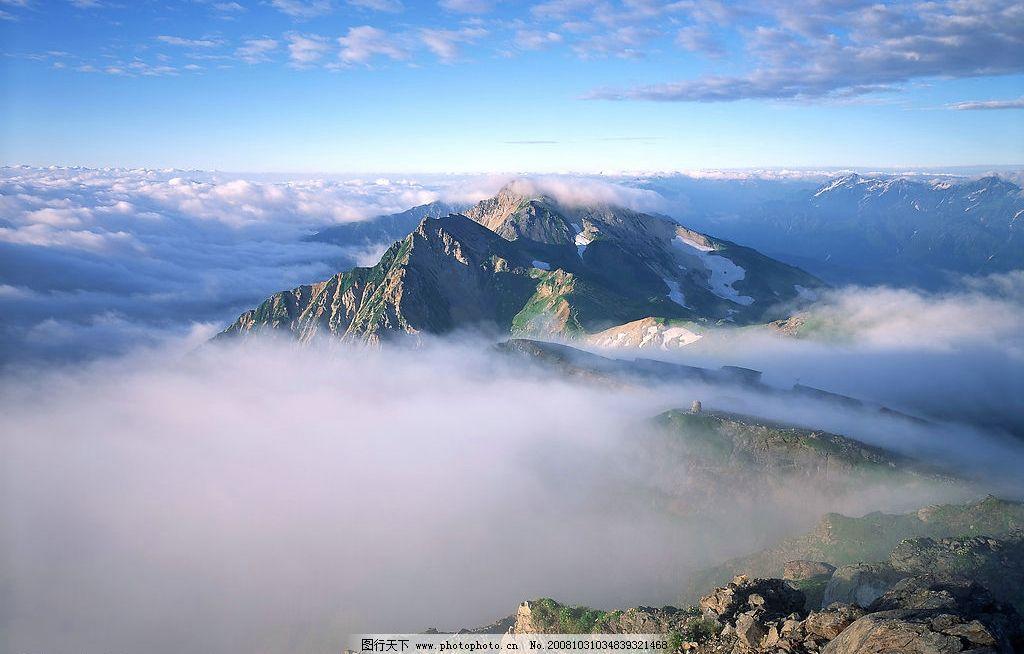 云雾缭绕 云雾 山峰 蓝天 自然景观 自然风景 摄影图库 350dpi jpg