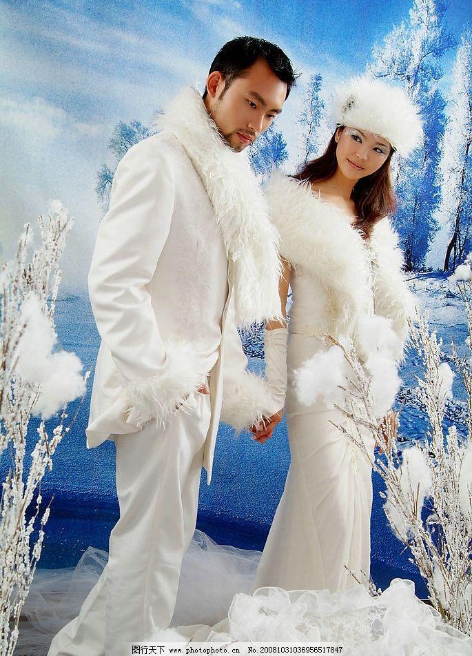 婚纱 美女 帅哥 结婚 雪 雪景 人物图库 其他人物 摄影图库 72dpi jpg