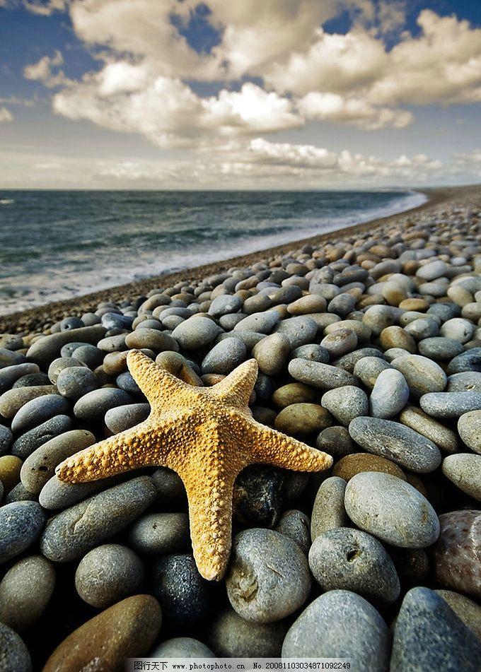 海边卵石海星 云 浪漫 法国 特写 风情 自然景观 自然风景 摄影图库