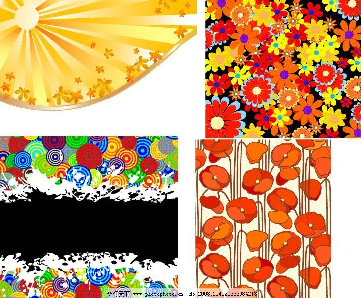 矢量花卉花边花纹 矢量花朵 花纹 可爱 苹果 圆形 落叶 矢量素材 底纹