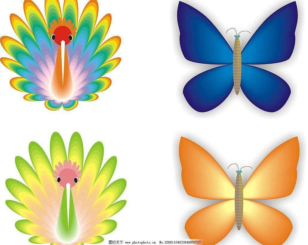孔雀和蝴蝶 美丽的孔雀和蝴蝶 其他矢量 矢量素材 矢量图库 cdr图片