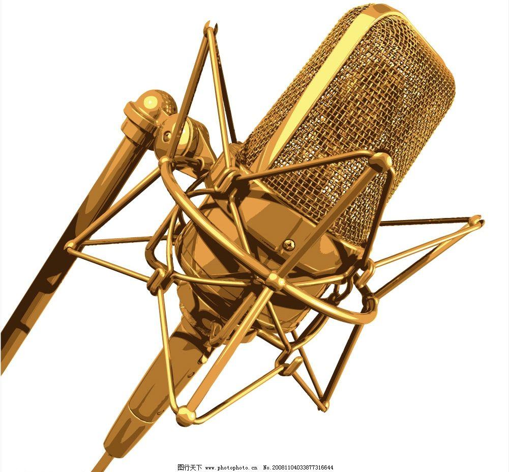 金色话筒 音乐 主题 背景 其他矢量 矢量素材 矢量图库