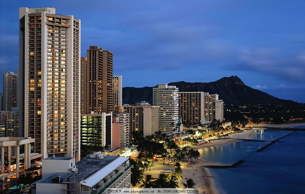 高楼大厦 海滩 街道 房地产 城市 沙滩 山 楼房 摄影图库