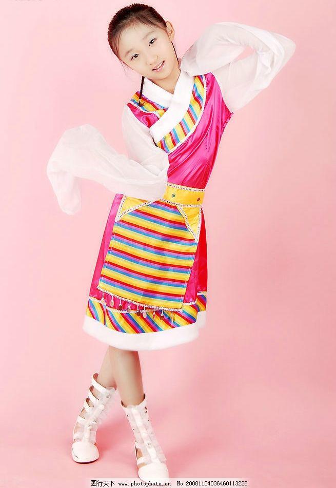 民族服饰 美女 藏族 写真 可爱的小女孩 明星偶像 摄影图库