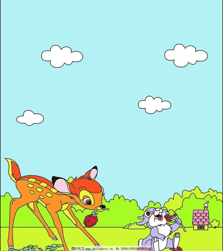 卡通小鹿 小兔图片