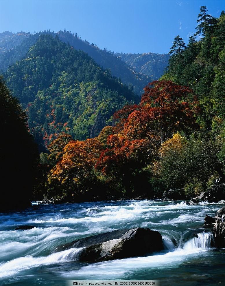 山峰 山恋 山坡 枫树 秋天 流水 山泉 山水 大自然 自然景观 山水风景
