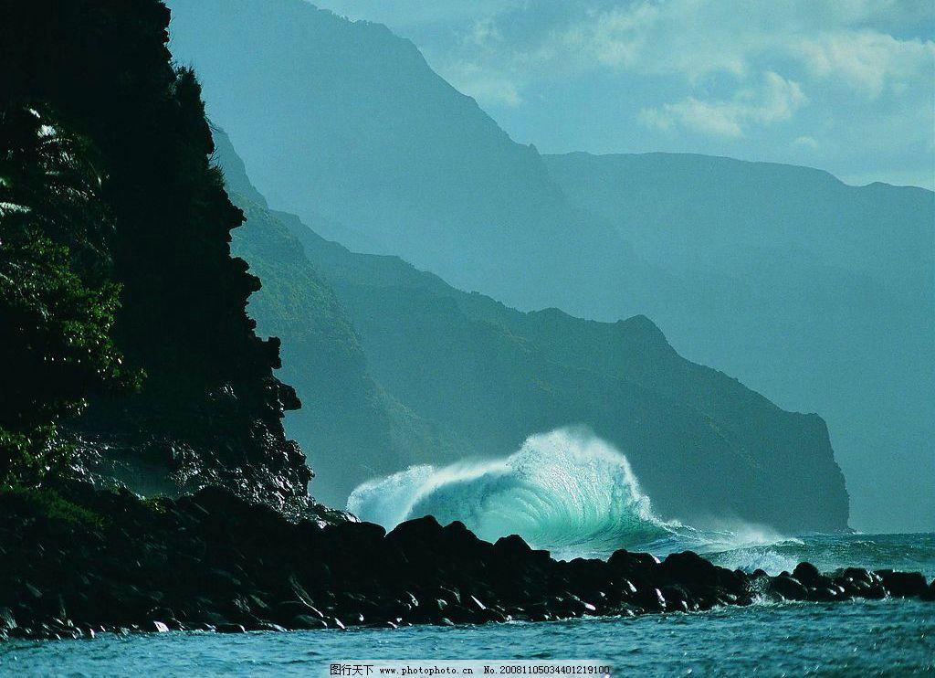 山水剪影 山 山恋 大海 海边 海浪 自然景观 山水风景 摄影图库 72dpi