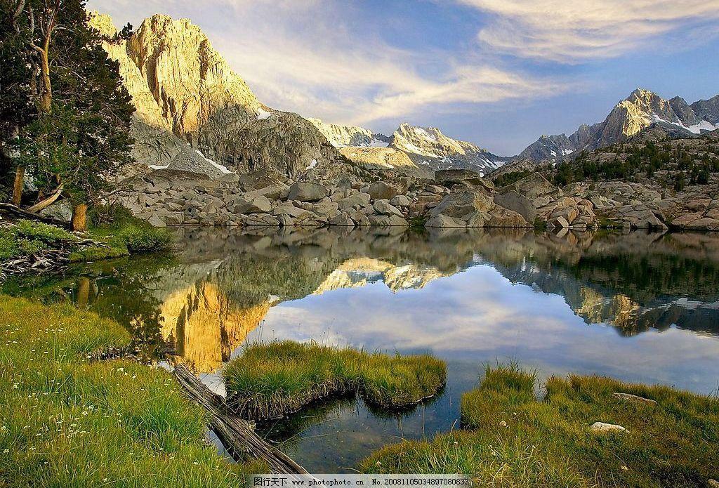 池塘 静水 天山 水塘 自然景观 自然风景 摄影图库 72dpi jpg