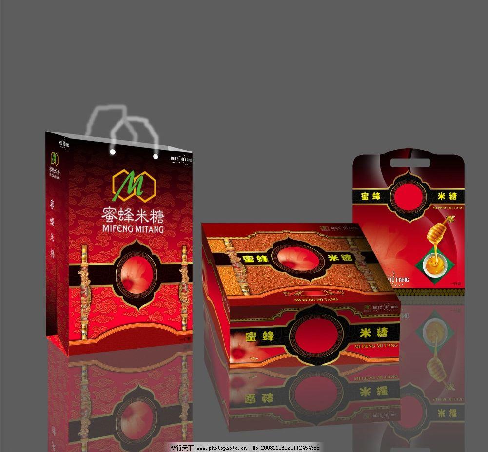 包装 蜜蜂 纸盒 纸袋 花 蜜蜂米糖 古典 标志 陶瓷 广告设计模板 包装
