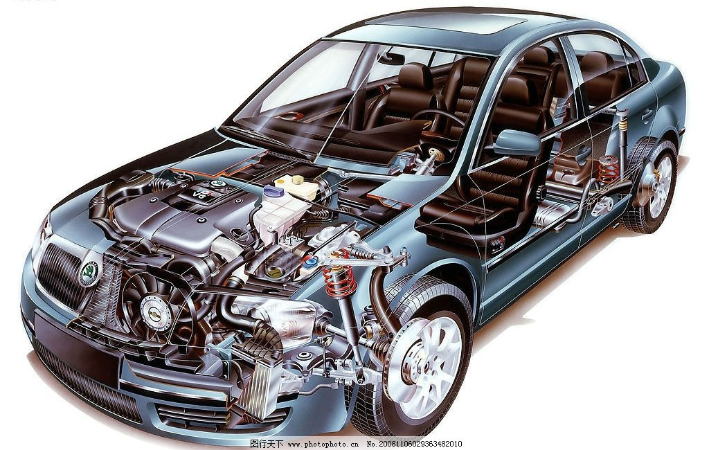 斯柯达 汽车 透视图 发动机 广告设计 画册设计 设计图库 300dpi jpg